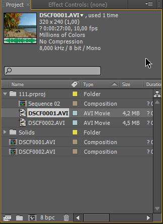 Отображение свойств выбранного файла