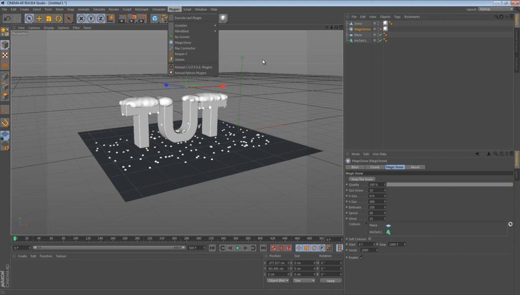 Плагин для создания снега в CINEMA 4D