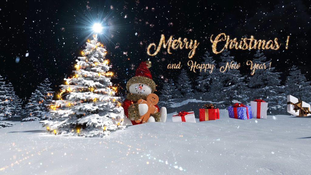 Снеговик и поздравление с Рождеством!